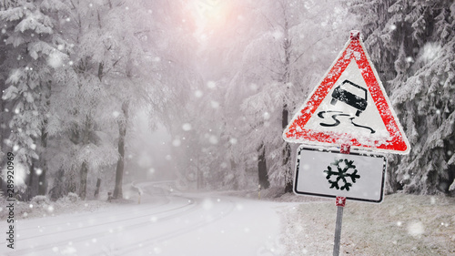 race in the snow - warning sign before the ice break Wallpaper Mural