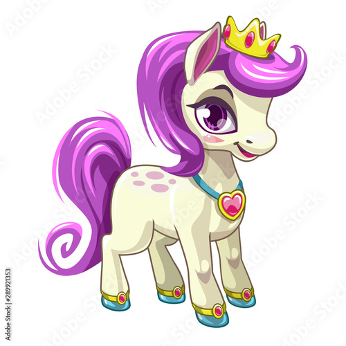 Fotografie, Obraz Little cute cartoon pony princess. Pretty horse with purple hair.