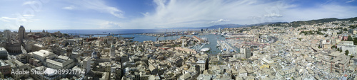 Photo Stands Pale violet Aerial photo shooting with drone of Genova, a famous Italy city, important hub of maritime trade and tourist art