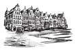 Rysynek ręcznie rysowany. Widok na kamienice w Antwerpii w Belgii