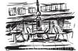 Rysynek ręcznie rysowany. Kawiarnia w centrum Paryża we Francji