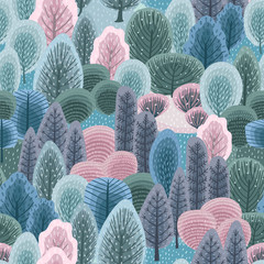 FototapetaAbstract seamless pattern with winter forest. Vector background