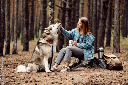 Young Girl with her Dog, Alaskan Malamute, Outdoor at Autumn. Domestic pet