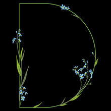 Capital Letter D. Floral Alphabet. Beautiful Font With Branches Of Forget-me-not-flowers.
