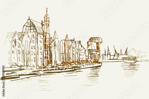 Fototapeta Rysynek ręcznie rysowany. Widok na Motławę w centrum Gdańska obraz
