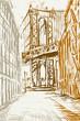 Rysynek ręcznie rysowany. Widok na most Brookliński