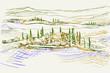 Rysynek ręcznie rysowany. Toskański pejzaż z okolic Sieny we Włoszech w Europie