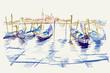 Rysynek ręcznie rysowany. Widok na plac świętego MArka w Wenecji we Włoszech