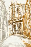 Fototapeta Nowy Jork - Rysynek ręcznie rysowany. Widok na most Brookliński