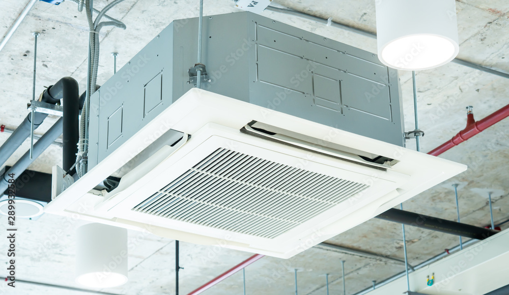 Fototapety, obrazy: Modern ceiling air conditioning system in loft office, cassette type