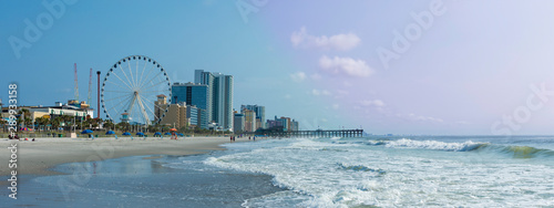 Panoramic view of Myrtle Beach, South Carolina with beach, hotels, ferris wheel, and boardwalk Wallpaper Mural