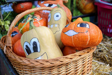 Painted Decorative Pumpkins For Halloween In A Basket