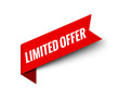 Limited offer ribbon vector banner. Red promotion label bew offer price tag label for advertising