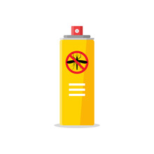 Mosquito Insect Reppelent Bottle Icon. Bug And Mosquito Reppelent Spray Aerosol Prevention