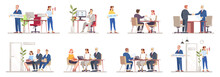 HR Agency Flat Vector Illustrations Set. Staff Search, Recruitment. Resume Review, Interviewing Candidates. Help People Find Work. Employers, Recruiters, Job Seekers Isolated Cartoon Characters