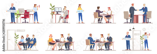 Photo HR agency flat vector illustrations set