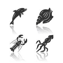 Ocean Animals Drop Shadow Blac...