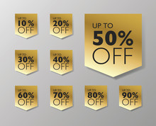 50 % Off Sale Tags. Set Of 10% Through 90% Off Labels For Sale Promotional Marketing .