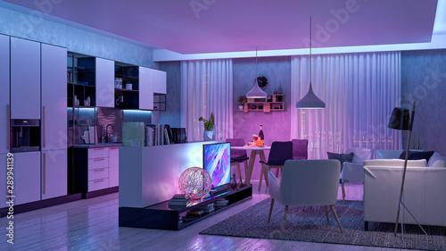 Modern Livingroom with colored led light - Smart home Tapéta, Fotótapéta