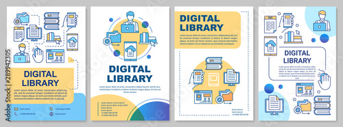 Canvas Print Digital library brochure template