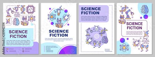 Obraz Science fiction book brochure template. Sci fi literature. Flyer, booklet, leaflet print, cover design with linear illustrations. Vector page layouts for magazines, annual report, advertising poster - fototapety do salonu