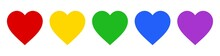 Five Hearts Vector Icon With Different Color