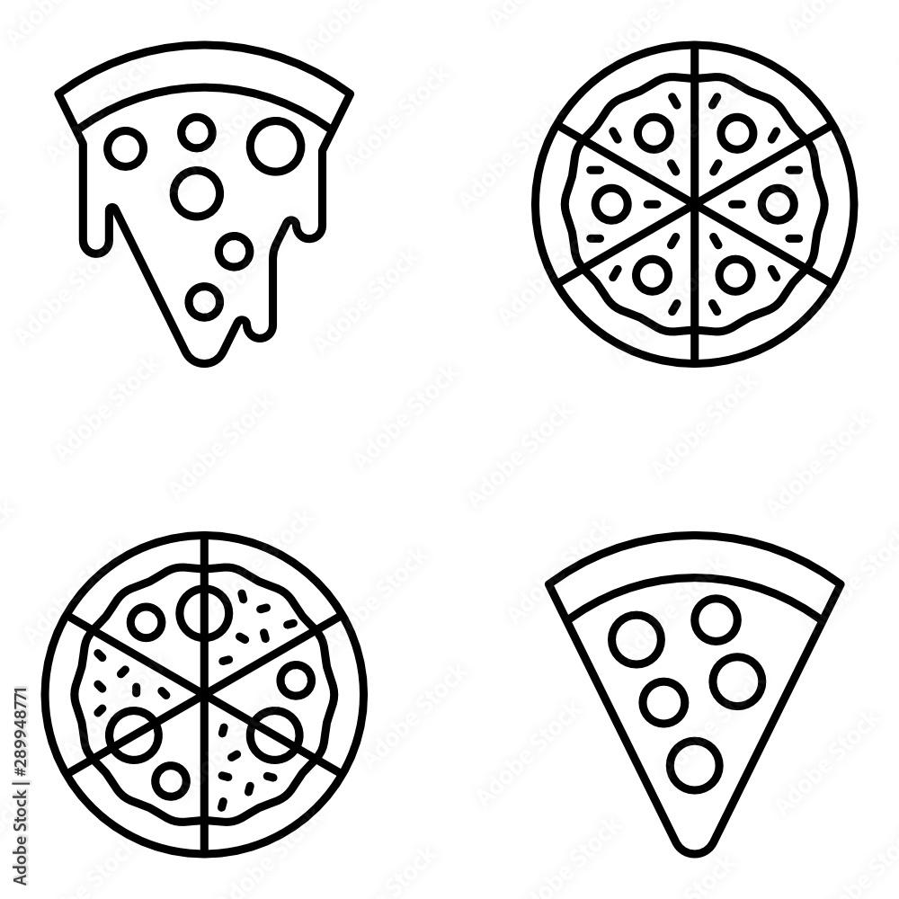 Fototapety, obrazy: Pizza Vector Line Icon Set