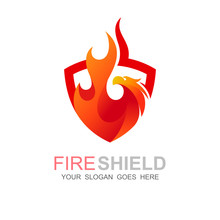 Phoenix Logo With Shield Design Template, Fire And Eagle Logo