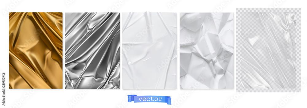 Fototapeta Gold fabric, silver foil, white paper, transparent plastic film. 3d realistic textures, vector set