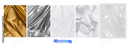 Fotomural  Gold fabric, silver foil, white paper, transparent plastic film