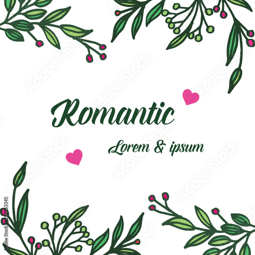 Poster Retro sign Pattern colorful wreath frame and green leaves, for banner element of romantic. Vector