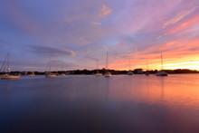 Sunset Over The Harbor On Ocracoke Island, North Carolina