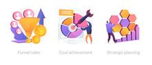 Marketing Business Icons Set. Customer Conversion Model, Success Strategy Development. Funnel Sales, Goal Achievement, Strategic Planning Metaphors. Vector Isolated Concept Metaphor Illustrations