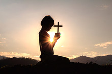 Silhouette Child Praying To Th...