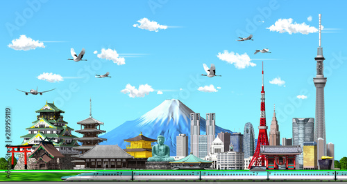 kground by 3d rendering Japanese illustration of blue sky in 3d render Canvas Print