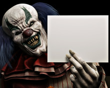 Frightening Scary Clown With S...