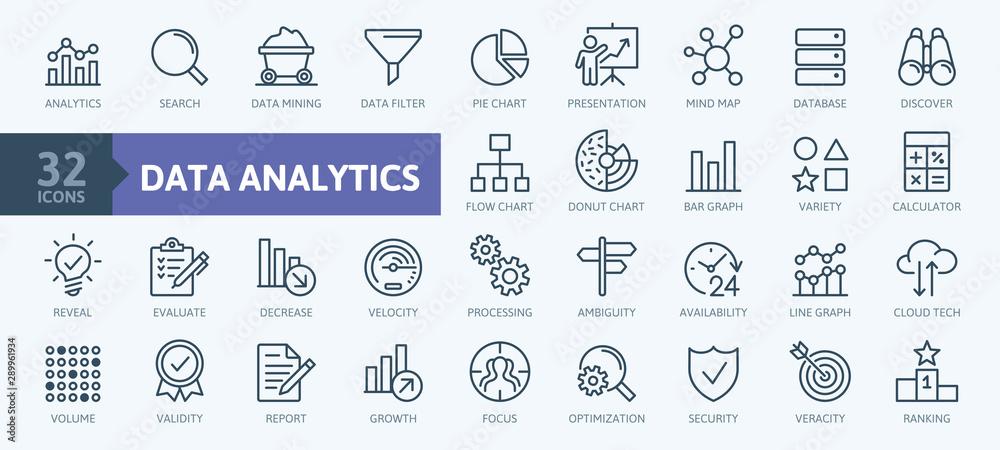 Fototapeta Data analysis, statistics, analytics  - minimal thin line web icon set. Outline icons collection. Simple vector illustration