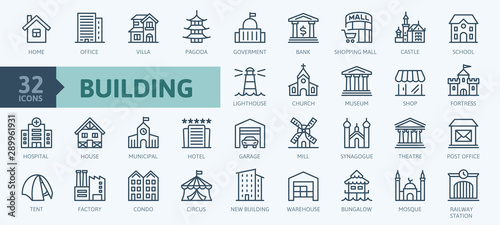 Εκτύπωση καμβά Building minimal thin line web icon set