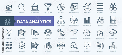 Fotomural  Data analysis, statistics, analytics  - minimal thin line web icon set