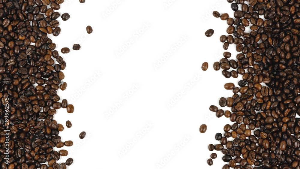 Fototapeta Coffee beans. Isolated on a white background.