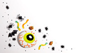 Halloween Decorations With Eyeball - Overhead View Flat Lay