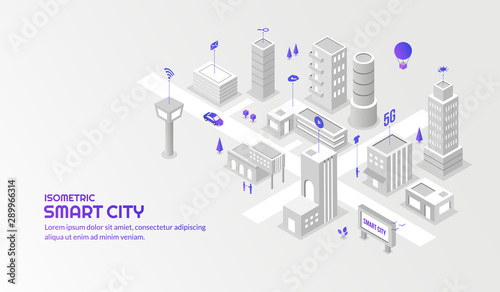 Modern technology sevice with the connected smart city background - 289966314