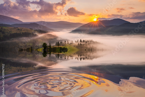 Foto auf Leinwand Lavendel Misty dawn in the mountains. Beautiful Autumn Landscape