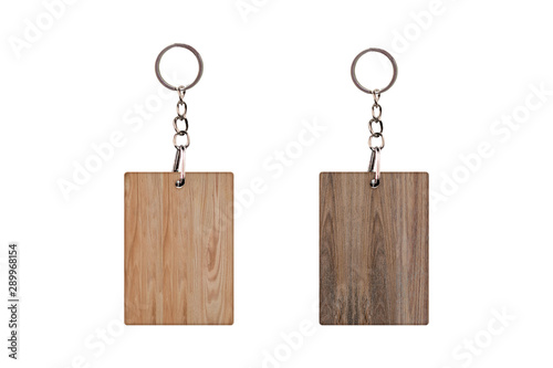 Vintage Keychain with Wooden plank Isolated on a white background Wallpaper Mural