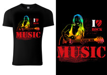 T-shirt Design With Guitarist Girl On Black Background - Graphic Illustration With Musical Theme, Vector