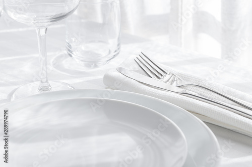Obraz na plátně  Table setting white and grey colour