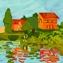 Houses In Claude Monet Style. ...