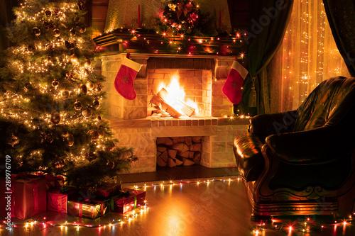 Fototapeta  Christmas living room home interior