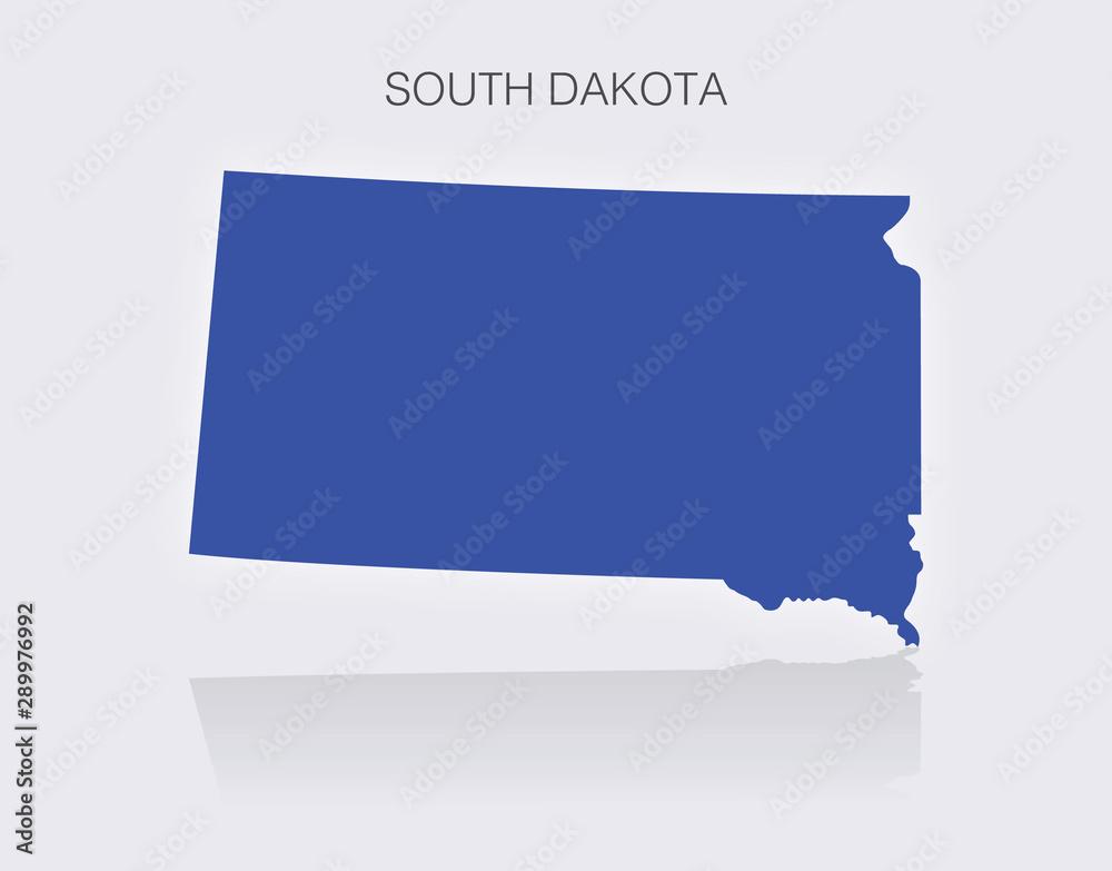 Fototapety, obrazy: State of South Dakota Map in the United States of America