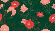 Floral Seamless Pattern, Camellia Flowers With Leaves In Red Line Art Ink Drawing On Dark Green